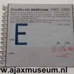 Achterkant seizoenkaart 1982 - 1983 vak E Stadion De Meer