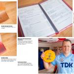 Pagina 5 en 6 in Ajax 1900 magazine.  Menukaart Café-Restaurant Ajax-Amsterdam  Categorie: uniek en ludiek. Wat ik hier mooi aan vindt; de prijzen. Hier kijk, Hollandse biefstuk, aardappelen en groenten voor zes gulden vijftig. Ik zou zeggen: 'Kom daar nu nog eens om.'   Stoeltje Olympisch Stadion  Echt nog van hout. Deze exemplaren zijn in 1985 geplaatst en in 2011 vervangen, dus als die konden praten…   Stoeltje De Meer  Met nummer 69. Wat moet wie erop zat in de loop der jaren een hoop mooie en onvergetelijke momenten hebben meegemaakt.   Gele & blauwe frisbee  Voor het klassieke strand-en vakantiegevoel. Met het oude logo. En de oude sponsor TDK. In gedachten zit je meteen weer in de jaren tachtig.