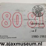 Voorkant seizoenkaart 1980 – 1981 vak F Stadion De Meer