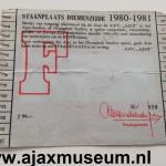 Achterkant seizoenkaart 1980 – 1981 vak F Stadion De Meer