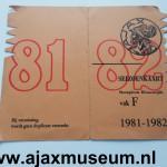 Voorkant seizoenkaart 1981 – 1982 vak F Stadion De Meer