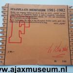 Achterkant seizoenkaart 1981 – 1982 vak F Stadion De Meer