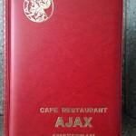 Menukaart café restaurant Ajax Amsterdam