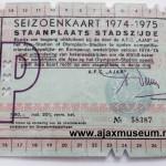 Achterkant seizoenkaart  1974 - 1975 vak P Stadion De Meer