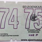 Voorkant seizoenkaart 1974 – 1975 vak P Stadion De Meer