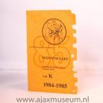 Seizoenkaart 1984 – 1985 vak K Stadion De Meer