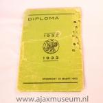 Diploma Ajax 1932 – 1933
